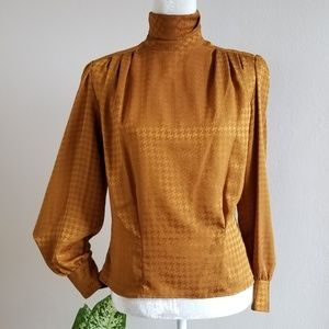 Vintage - Bronze Houndstooth High Neck Blouse